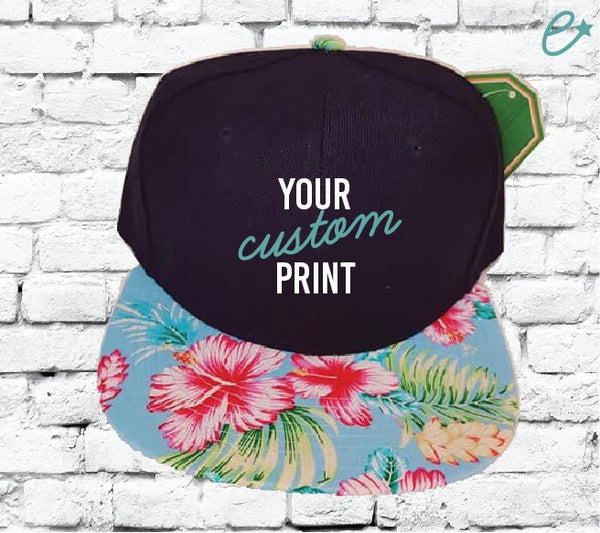 Custom Embroidery Hawaiian Floral Brim Black Hat Snapback Black Cap with Multicolor Brim
