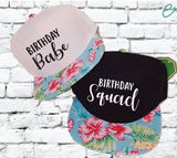 Birthday Babe and Birthday Squad Hats Couples Snapbacks Black and Floral Hats Group Birthday Party Hats
