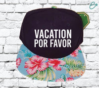 Vacation Por Favor Embroidery Hat Hawaiian Snapback Multi-color Lettering Black Cap