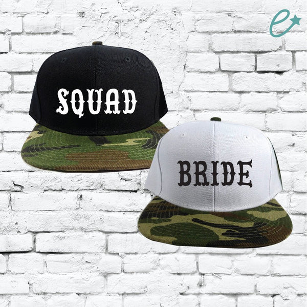 Bride Squad Couples Hats Camo Snapbacks Black and Camouflage Hats Couple Hats Bachlorette Party Bridesmaids Gifts Bridal Party