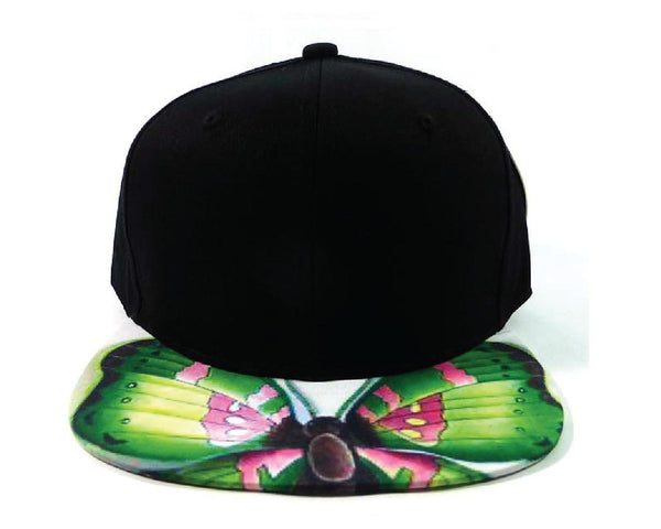 Custom Embroidery Hat Green and Pink Snapback Black Cap with Butterfly Hat