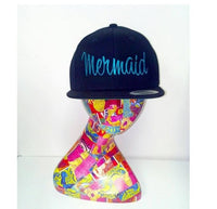 Mermaid Teal and Black Embroidered Hat Embroidery Snapback Fun Hats