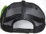 Custom Embroidery Black Trucker Hat Snapback Flat Brim Solid Hat with Mesh Back Snapback