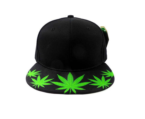 Custom Embroidery Black Snapback Green Weed Leaf Marijuana Print Hat Adjustable Custom Cap Allover