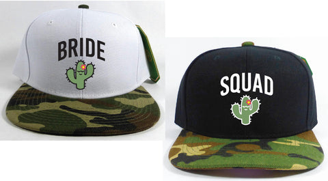 Bride Squad Cactus Bachlorette Hats Camo Snapbacks Black and Camouflage Hats Couple Hats Bridesmaids Gifts Bridal Party