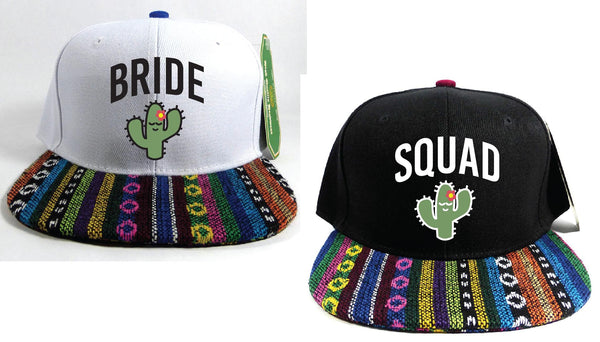 Bride Squad Cactus Bachlorette Hats Aztec Snapbacks Black and Ikat Hats Couple Hats Bridesmaids Gifts Bridal Party