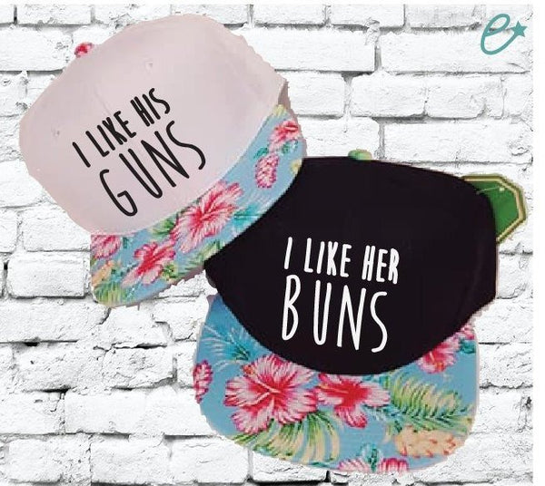 I Like Her Buns I Like His Guns Hats Couples Snapbacks Black and Floral Hats Couple Hats Honeymoon Hats Wedding Date Required