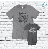 Enjoy the little Things and Little Thing Design Shirt Set Graphic Tee Mama and Me Matching Infant Short Sleeve Baby Rib Bodysuit