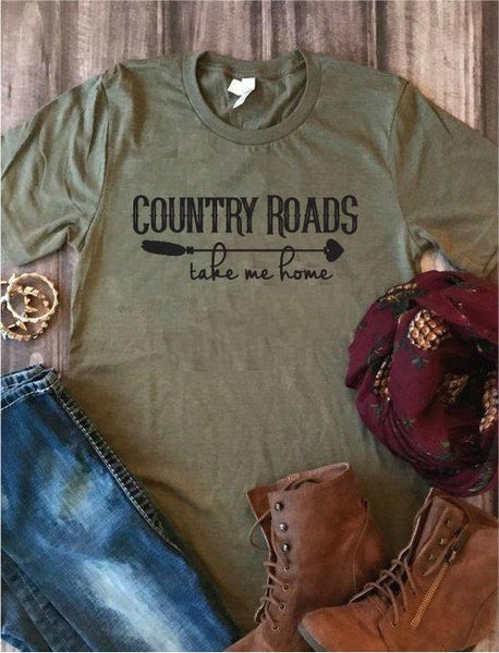 Country Roads Take me Home Shirt Graphic Tee Unisex Crew Neck T-shirt Custom Dirt Road Shirt Relaxed Retail Fit Tee