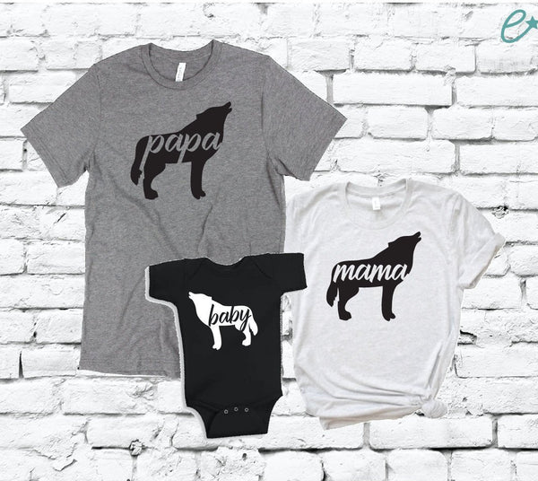 Wolf Pack Family Tees Mama Papa and Baby Shirt Set Baby Announcement Graphic Tees Mom & Dad to be Matching Bodysuit