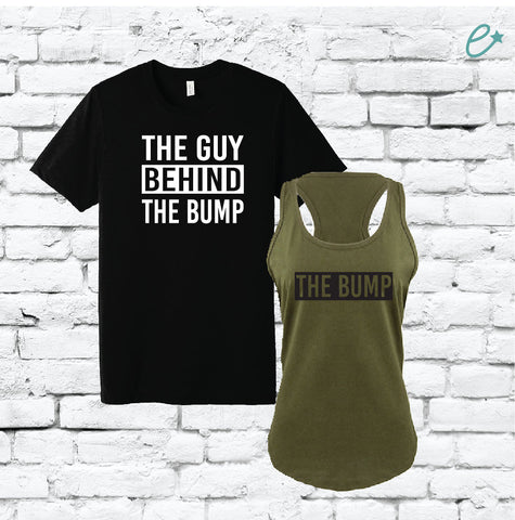 d087bd010 The Bump and The Guy Behind the Bump Couples Funny Graphic Tee Tank Top  Pregnancy Baby