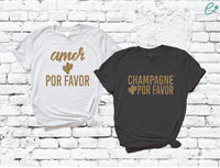 Amor Por Favor and Champagne Tees Cacti Cactus Accent Shirt Bachlorette Party Fiesta Graphic Tee Unisex T-shirt Gift for Bridesmaids