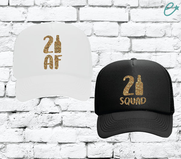 21 Af and 21 Squad Birthday Hats Birthday Squad Trucker Hats Party Hats Mesh Back Hats with Snapback Bottle Drinking for 1st Birthday Party