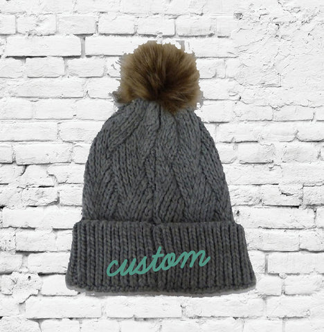 15df499caf9bc Custom Pom Pom Beanies Grey Cable Knit Hats Monogram Hats Custom Embroidery  Hats
