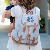 Custom Monogrammed Backpack Navy Seer Sucker Diaper Bag Monogram Personalized School Bag