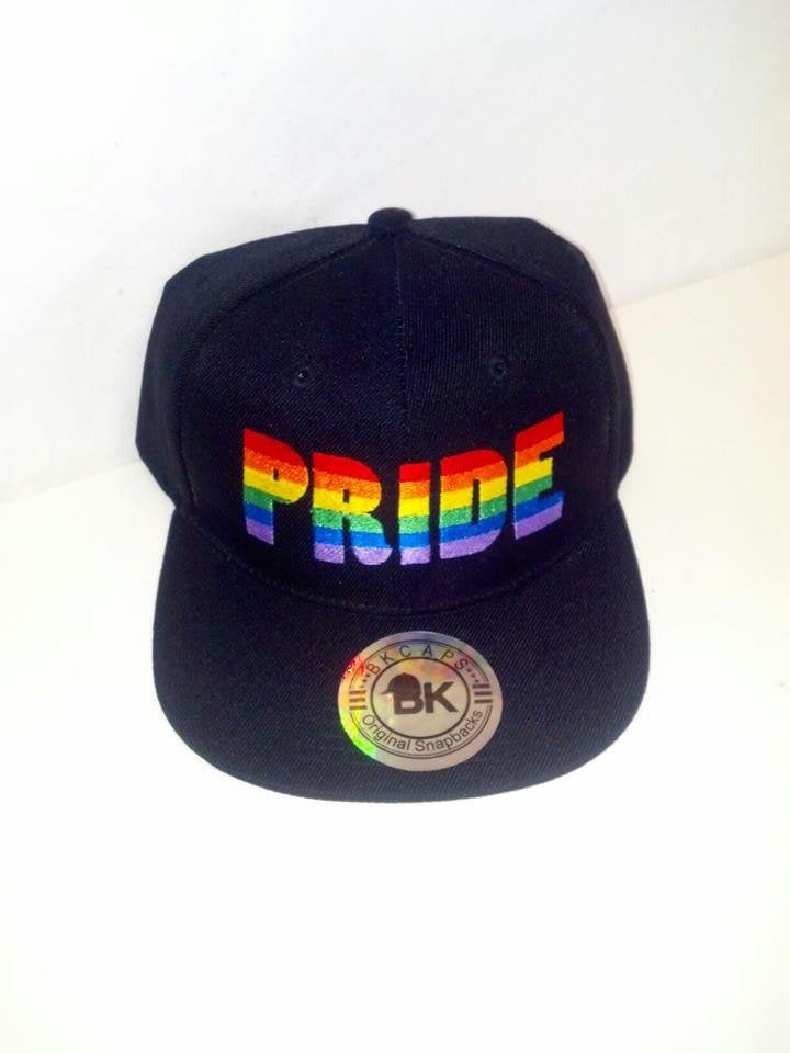 51262ed53 Pride Embroidery Rainbow Hat Multi-color Lettering Snapback Black Cap with  Pride Print Personalized Hat