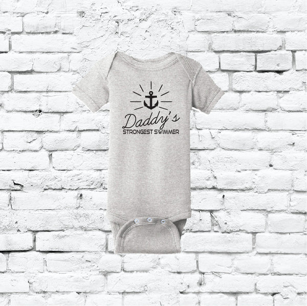 Daddy's Strongest Swimmer Bodysuit Anchor Funny Infant T-shirt Personalized Baby Fine Jersey Shirt