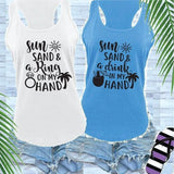 Sun Sand and a Ring or Drink in my Hand Destination Bachlorette Bridal Party Women's Racerback Gathered Back Tank Custom Tank Top