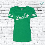 Lucky Shamrock Four Leaf Clover Women's Green and White Varsity V-Neck T-shirt Saint Patricks Day Shirt Game Day Team Tees Relaxed Fit Tee