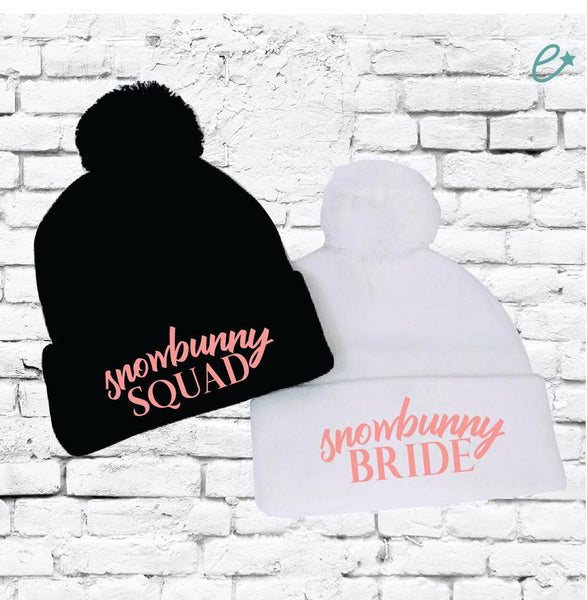 Snowbunny Bride and Squad Pom Pom Beanies Knit Hats Bridal or Bachlorette Party Pom Pom Beanies Knit Party Hats Funny Ski Winter Hats