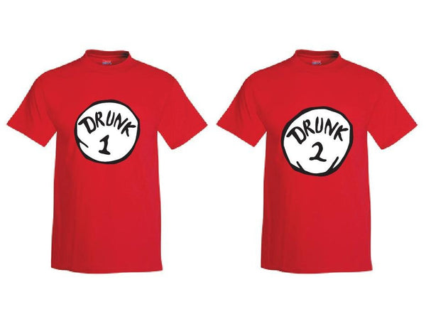 Drunk 1 and Drunk 2 Custom Mens Graphic Tee Unisex Fit T-shirt for Men Funny Shirts Drinking Shirt Red or Your color Choice