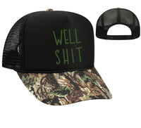 Well Shit Camo Trucker Hats Mesh Back Hat Snapback  Party Hats Girls Weekend, Guys Weekend, River Trip Camping Funny Hat
