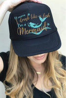 Of course I drink like a Fish I'm a Mermaid Trucker Hats Mesh Back Snapback Hat Ocean Beach Day Drinker Hat