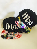 Mr. and Mrs. Snapbacks Custom Print Hats Any Color Newlywed Couple Snapback Hats Hibiscus Flower Hawaiian Floral Married Honeymoon Hats