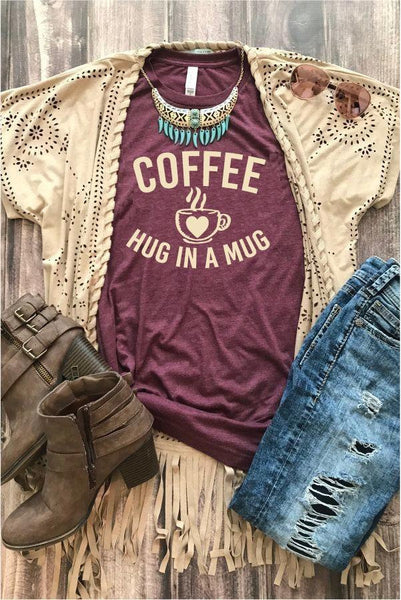 Coffee a hug in a mug Shirt Graphic Tee Coffee Drinkers Unisex Crew Neck T-shirt Custom Colors Shirt Relaxed Retail Fit Tee
