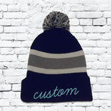 Custom Embroidery Beanie Personalized Pom Pom Beanies Throwback Beanie  Skull Cap Custom Grey and Black Stripe Knit Hats