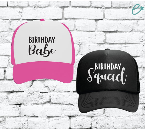 Birthday Babe and Birthday Squad Trucker Hats Bridal Party Hats Mesh Back Hats with Snapback
