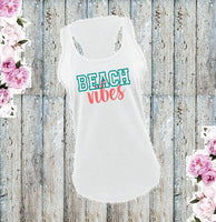 Beach Vibes Women's Racerback Gathered Back Tank Custom Tank Top Custom Personalized Fitted Tank Sports Wear