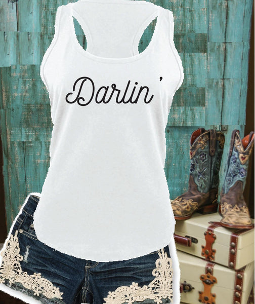 Darlin' Tank Women's Country Racerback Gathered Back Tank Custom Tank Top Custom Personalized Fitted Tank Sports Wear