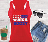 Red White and Boozy Tank Fourth of July Women's Racerback Gathered Back Tank Custom Tank Top Custom Personalized Fitted Tank Sports Wear