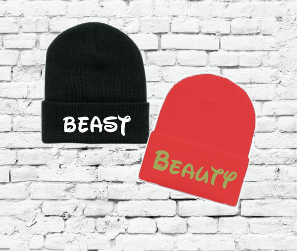 Beauty and Beast Beanies Custom Colors Knit Hat Couples Knit Hats