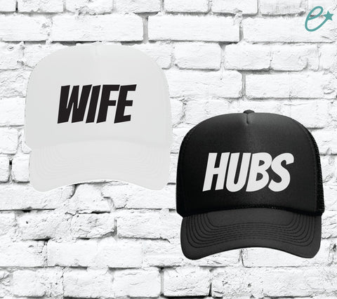 Wife and Hubs Trucker Hats Bridal Party Hats Mesh Back Hats with Snapback