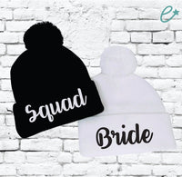 Bride and Squad Pom Pom Beanies Knit Hats Bridal or Bachlorette Party Pom Pom Beanies Knit Party Hats Funny Ski Winter Hats