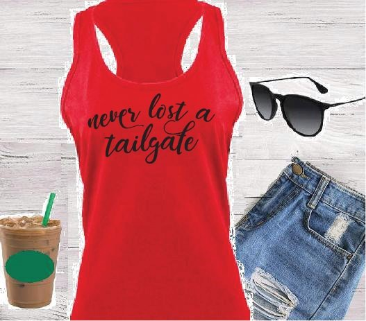 Never Lost a Tailgate Women's Racerback Gathered Back Tank Custom Tank Top Custom Personalized Fitted Tank Sports Wear