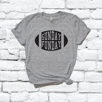 Sunday Funday Football Shirt Graphic Tee Unisex Crew Neck T-shirt Custom Colors Shirt Relaxed Day Drinking Retail Fit Tee