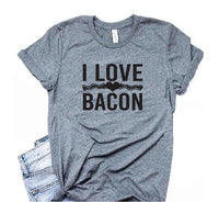 I Love Bacon Shirt Graphic Tee Unisex Crew Neck T-shirt Custom Colors Shirt Relaxed Retail Fit Tee