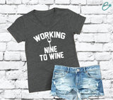 Working Nine To Wine V Neck Tee Dark Grey Charcoal Cotton Womens T Shirt Relaxed Retail Fit