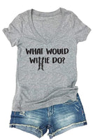 What would Willie Do Print Women's V-Neck T-shirt  Country Shirt Custom Personalized Fitted Tee
