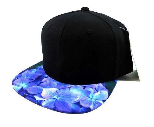 Custom Embroidery Floral Snapback Blue Hydrangea Flower Brim Floral Hat Black Cap with Multicolor Brim Blue and Purple Flower