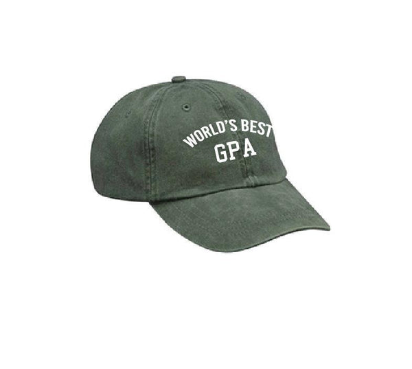 World's Best GPA Unstructured Dad Hat Gift for Grandpa Grandfathers Day Your Color Choice Spruce Green, Royal and White or Your Color Choice