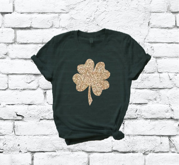 Happy Saint Patricks Day Shamrock Irish Print Women's Crew Neck T-shirt Day Shirt Gold Glitter on Emerald Custom Colors Tee Four Leaf Clover