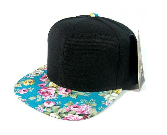 Custom Embroidery Floral Snapback Turquoise Pink and Yellow Print Brim Black Hat Adjustable Custom Cap Flower Allover