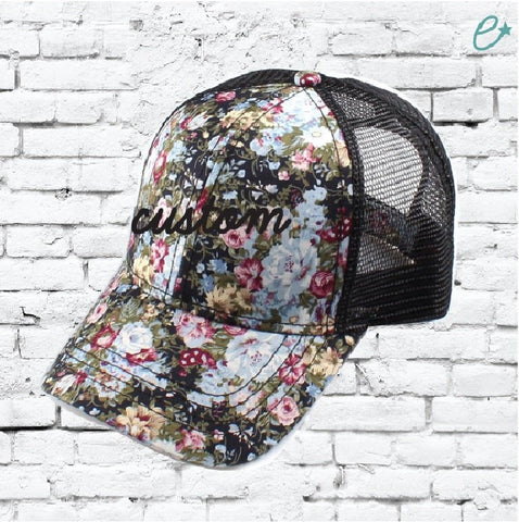 c957c2d7a3615 CC Trucker Hat Custom Embroidery Blue Olive Mauve Pink Floral Cap Your  Custom Print Mesh Back