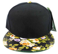 Custom Embroidery Floral Snapback Peach and Purple Rose Print Black Hat Adjustable Custom Cap Flower Allover