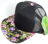 Custom Embroidery Black Trucker Hat Mesh Back Floral Snapback Pink and Purple Print Rose Brim Black Hat Adjustable Custom Cap Flower Allover