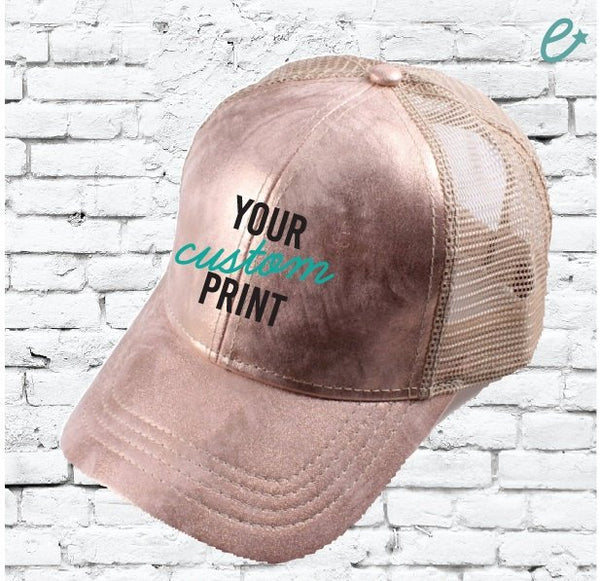 CC Cap Rose Gold Trucker Hat with Tan Mesh Back Baseball Cap Dad Hat with Rose Metallic Front 6 Panel Adjustable Cap